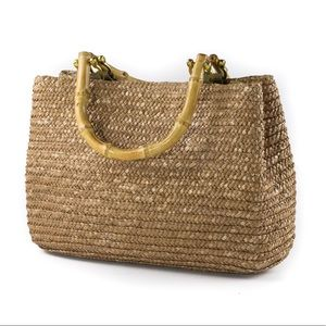Croft & Barrow Reed Handbag with Bamboo Handles